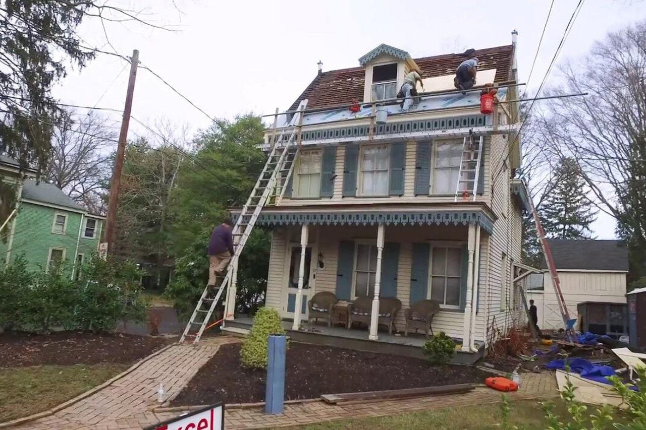 installing a copper standing seamed roof on a Steamboat Victorian Home in Haddonfield NJ